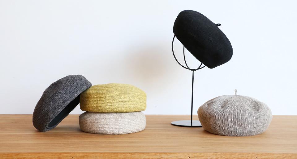 >麻素材で作ったベレー帽